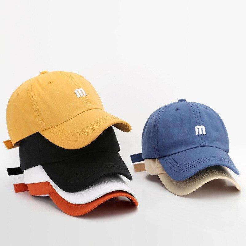 Кепка Мужская/Женская, простая бейсболка с вышивкой M, хлопок, регулируемая шапка от солнца, в стиле хип-хоп, спортивная