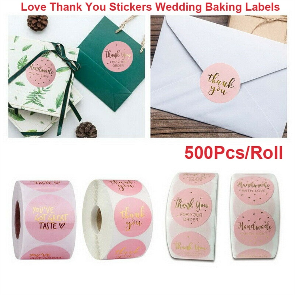 Thank you Stickers Wedding Flower Adhesive Labels