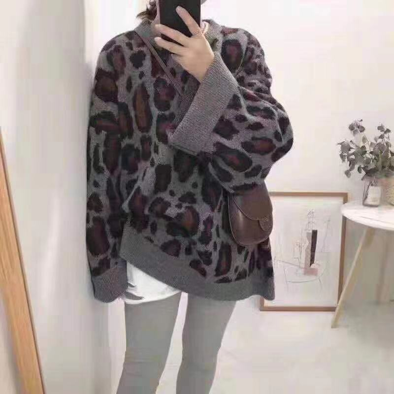 Leopard Sweaters Ladies Long Sleeve Pullover Women Oversize Korean Knitted Top Fashion Knitwear Loose Plus Size Female Clothes enlarge