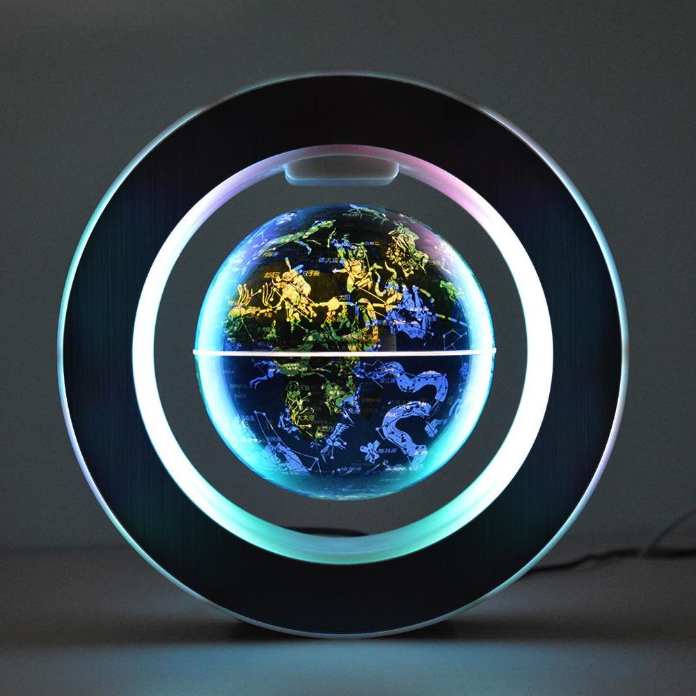 Creative O Shape Magnetic Levitation Floating Globe World Map with Colorful LED 6 Inch
