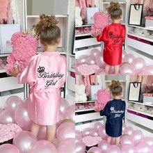 Enfants filles été décontracté anniversaire filles peignoir bébé filles solide soie Satin Robes Kimono peignoir vêtements de nuit vêtements HOOLER