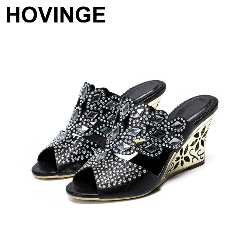 HOVINGE, zapatillas de tacón alto, diamantes de imitación, calado, talla grande, zapatos de caballo, tacón, zapatillas de mujer