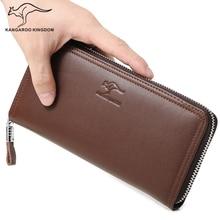 Kangourou royaume marque de luxe en cuir véritable hommes portefeuilles longue entreprise mâle pochette sac à main portefeuille à glissière