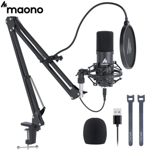 Комплект USB микрофона MAONO AU-A04, 192 КГц, 24 бит, профессиональный конденсаторный микрофон для подкастинга, микрофон для ПК, караоке, YouTube, студийный микрофон для звукозаписи