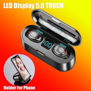 Wireless Earphone Bluetooth V5.0 TWS Sports Headphone LED Display/holder for phone/2000mAh Power Bank Headset With Microphone