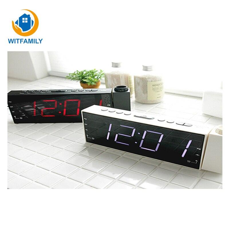 2019 nuevo LED electrónico recargable USB Snooze reloj de escritorio de doble Barrelled Radio proyección despertador Gadgets