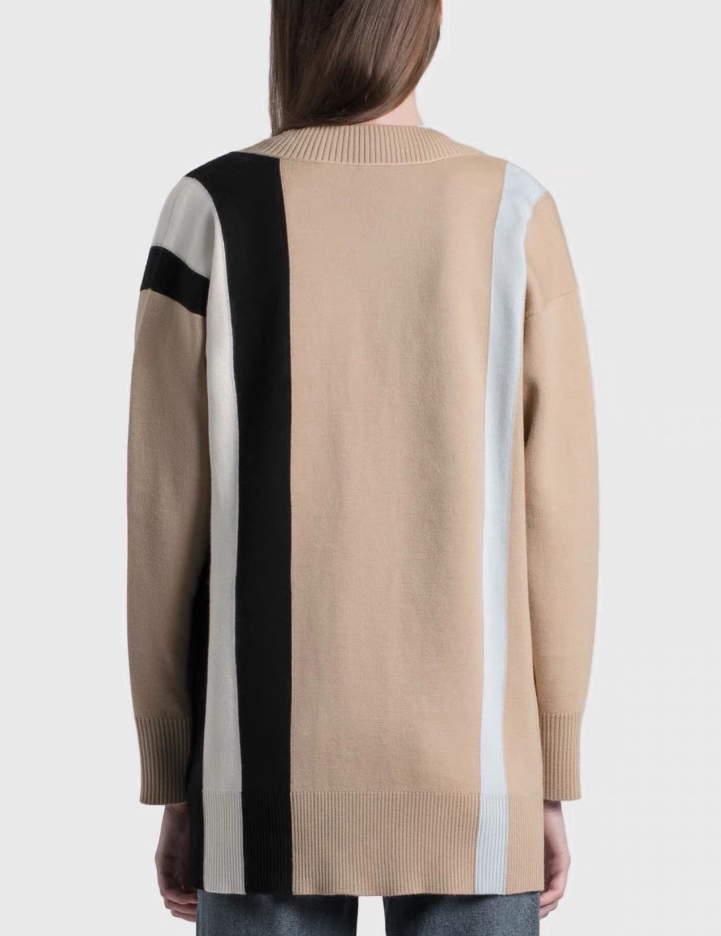 2021 luxury design contrast color stitching fashion long sleeve cardigan temperament versatile loose V-neck knitted sweater coat enlarge