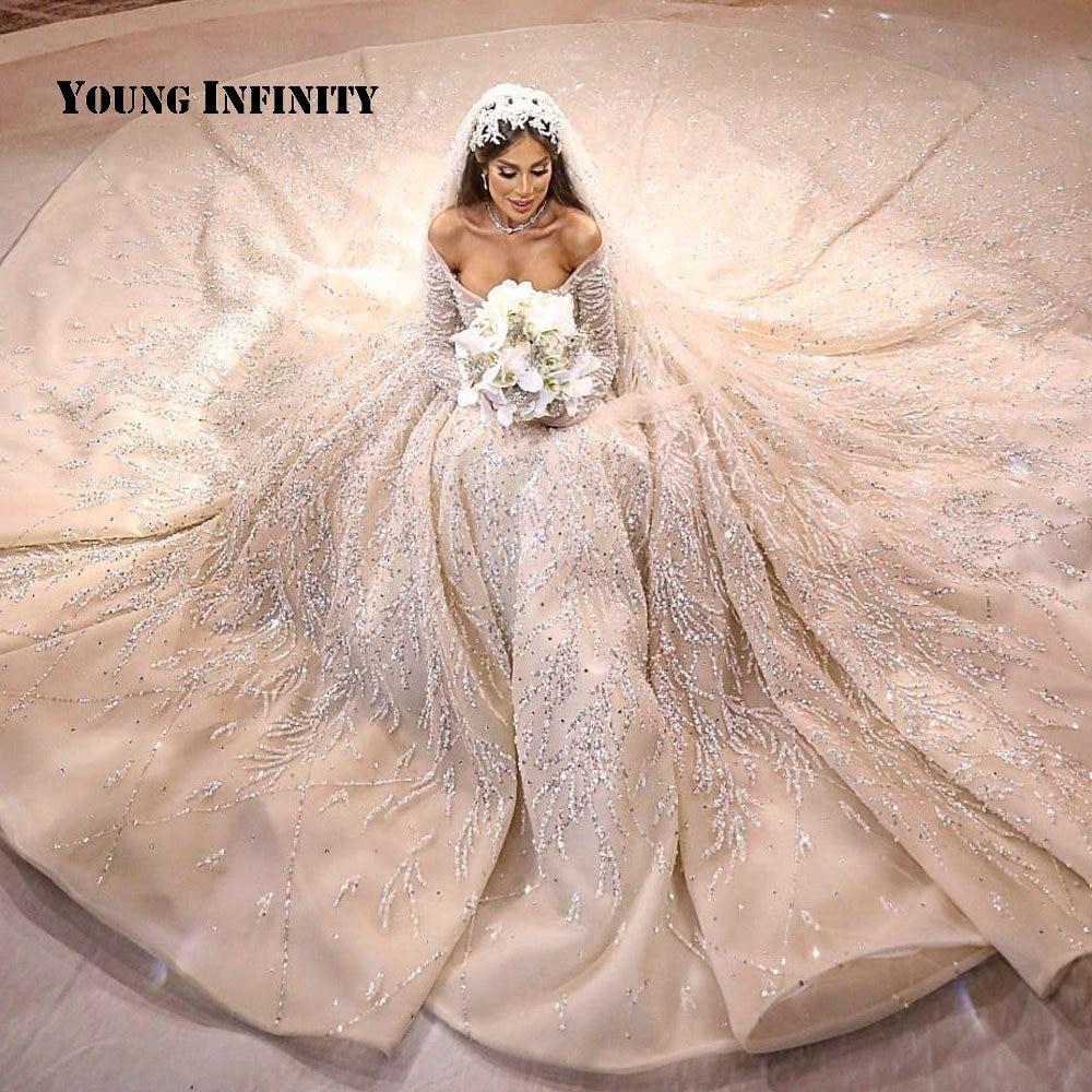 فاخر الملكي قطار الكرة ثوب الزفاف 2020 فستان زفاف الخرز كريستال شرارة دبي فستان عروس مخصص حجم كبير