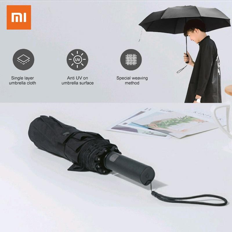 Автоматический черный складной зонт Xiaomi, ветрозащитный водонепроницаемый УФ-зонт для мужчин и женщин, лето и зима