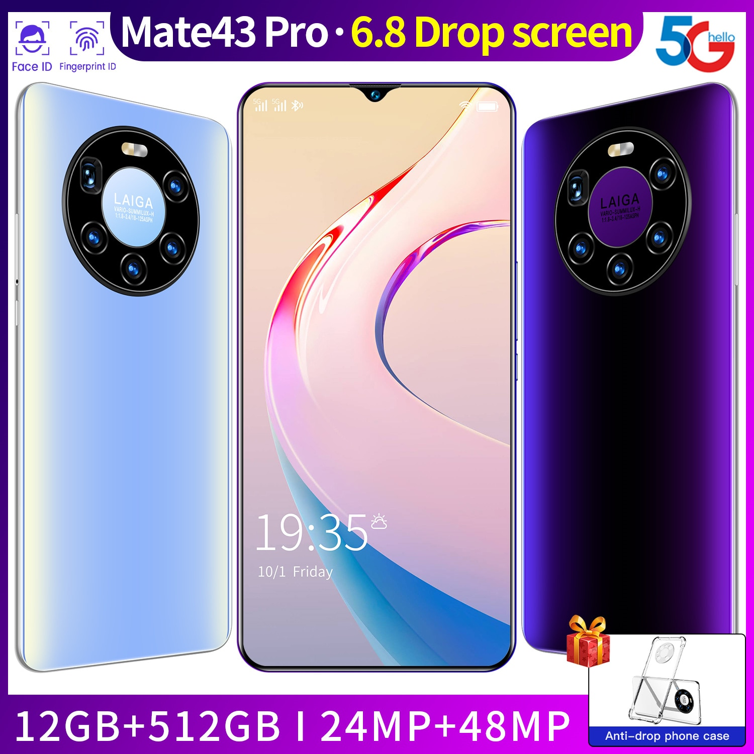SAILF Maet43 Pro Android 10.0 Mobile Phone 6.8' FHD+ 24MP Triple Camera 12G RAM 512GB ROM Smartphone 4G gsm Global