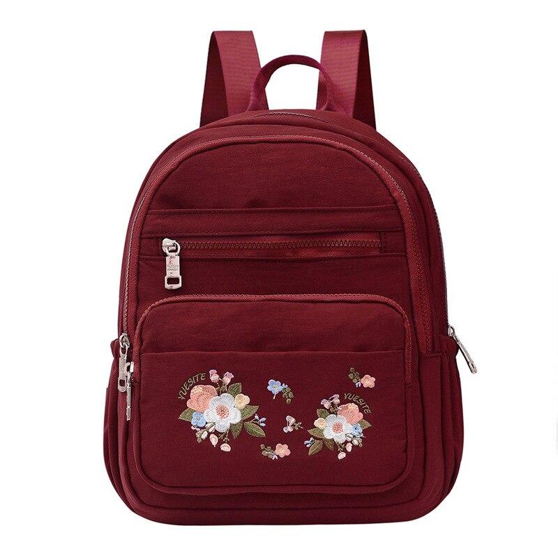 2020 новые Брендовые женские рюкзаки с цветочной вышивкой, водонепроницаемый нейлоновый дорожный рюкзак, повседневные школьные сумки для де...