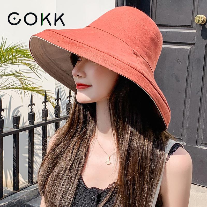 Cokk chapéu feminino balde de verão chapéus com dupla face pescador chapéu feminino proteção solar à prova de vento dobrável praia chapéu gorros