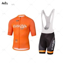 Orange EUSKADI mann kurzarm radfahren jersey sets fahrrad bekleidung ropa ciclismo hombre sommer gehen pro MTB bike 9d bib shorts