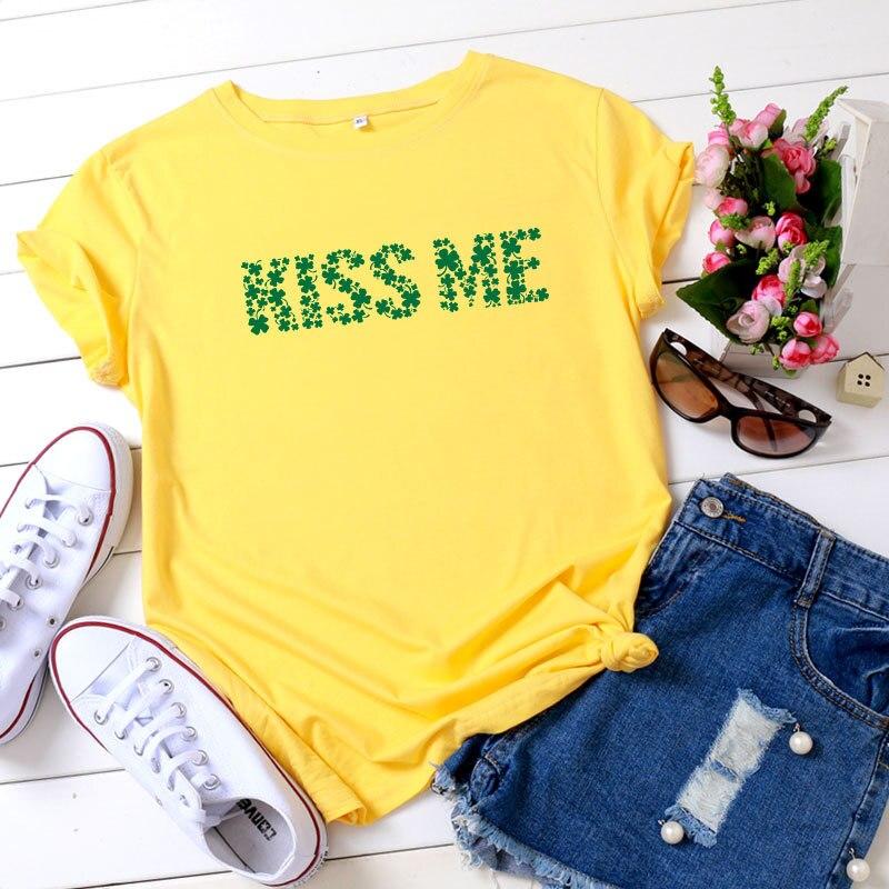 2020 verano camiseta Kiss Me letra impresa mujeres Camiseta 100% algodón moda manga corta Tops Camisetas Mujer señoras