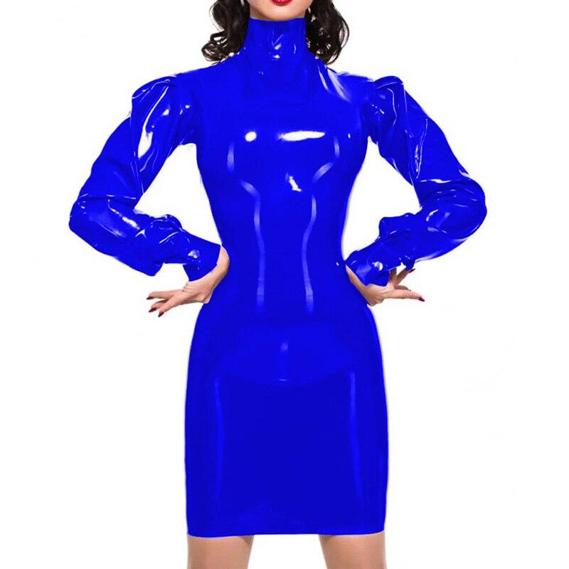 12 cores vintage mangas compridas puff bodycon mini vestido senhoras pvc alta pescoço pacote quadris vestido festa gótica cosplay fantasia vestido