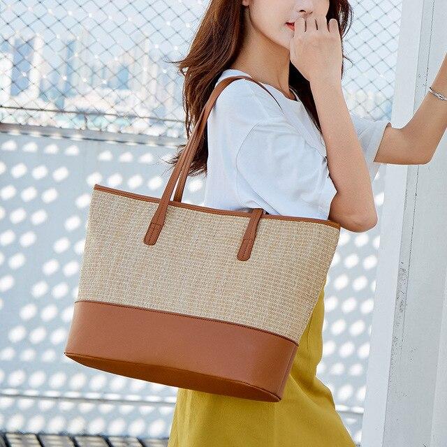 Women\'s Bag European and American Fashion Beach Bag Straw Bag Simple Shoulder Bag Cross-Border One 2