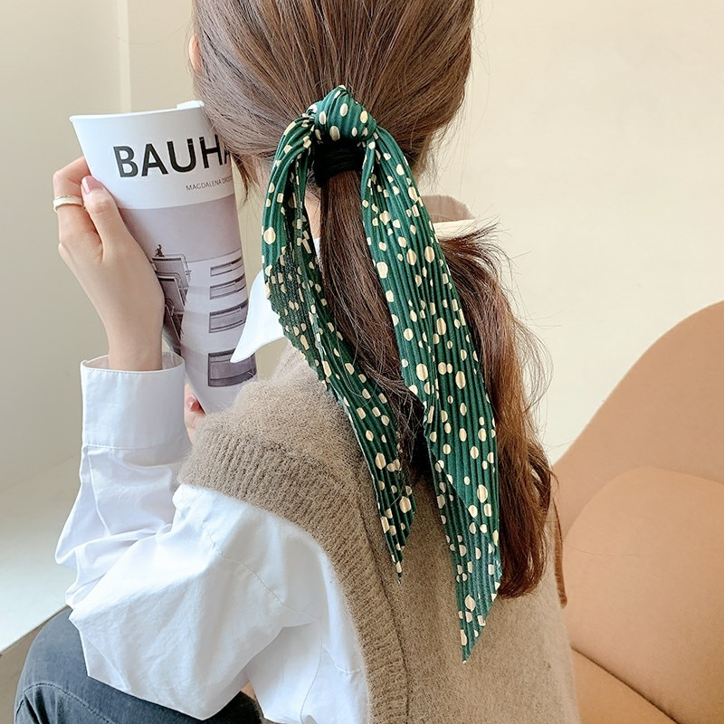 Internet Celebrity Wrinkle Ribbon Hair Band Strip Hair Band Women's Tie Hair Accessories French Retr
