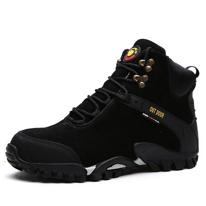 أحذية شتوية رجالية دافئة غير قابلة للانزلاق ، أحذية خارجية من جلد الغزال البقر ، أحذية تسلق الجبال ، مقاس كبير 47