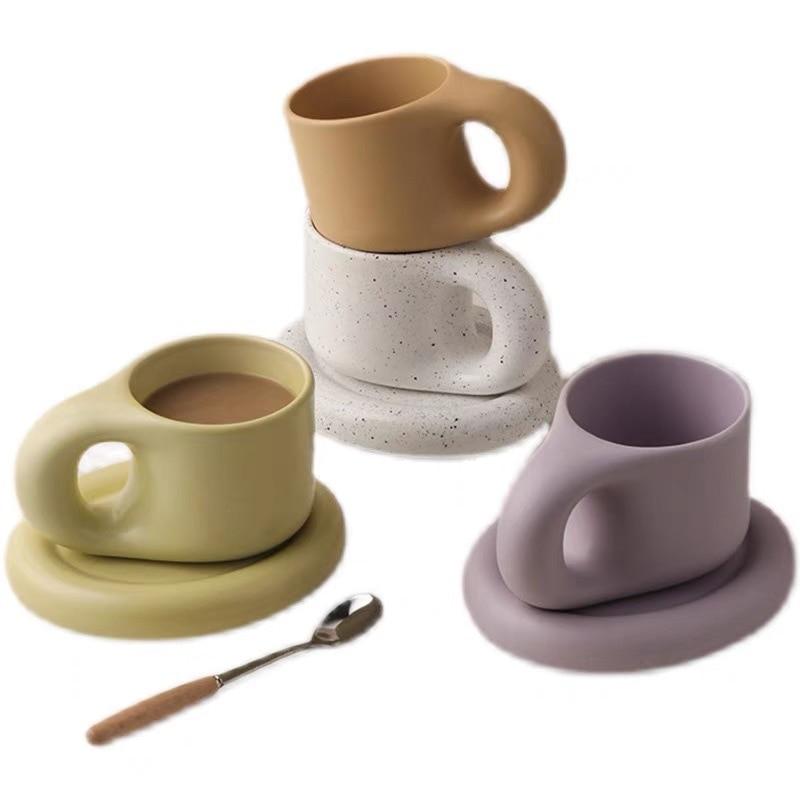 300 مللي الإبداعية اليدوية الدهون مقبض القدح و طبق بيضاوي شخصية كوب سيراميك الصحن ل القهوة الشاي الحليب كعكة الشمال ديكور المنزل