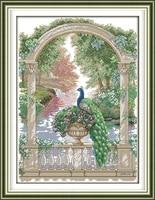 joy sunday the beautiful green peacock dmc counted chinese cross stitch kits printed cross stitch set embroidery needlework