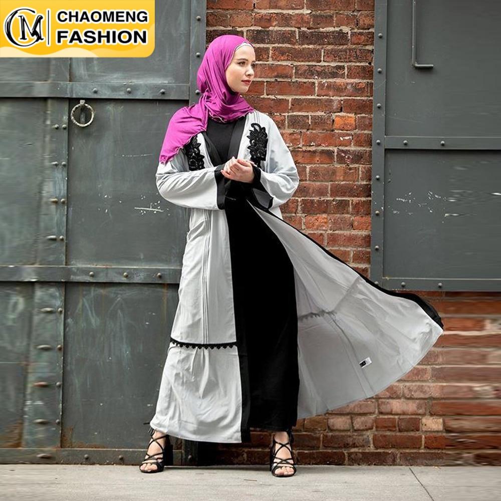 عباية دبي العربية مسلم موضة الحجاب فستان بسيط أنيق تركيا الأسود مطرزة المرأة كيمونو رداء الملابس الإسلامية التركية
