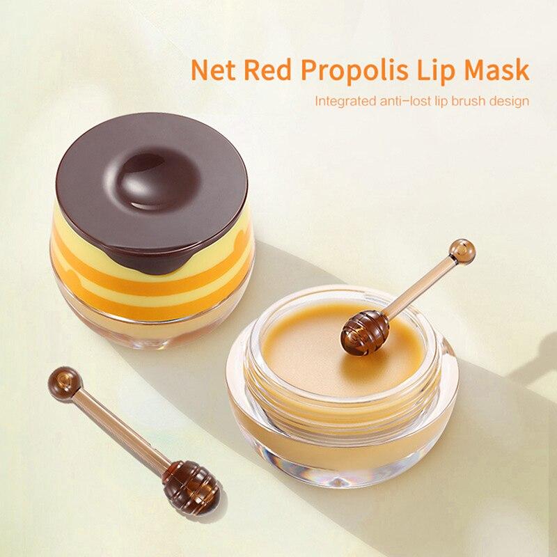 1PC Propolis Moisturizing Lip Mask Sleep Lip Balm Nourishing Anti-wrinkle Lip Care Anti-cracking Unisex Lip Mask With Brush TSLM