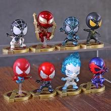 Marvel Avengers Spiderman Iron Spider Mini PVC Figures Toys Cosbaby Dolls 8pcs/set