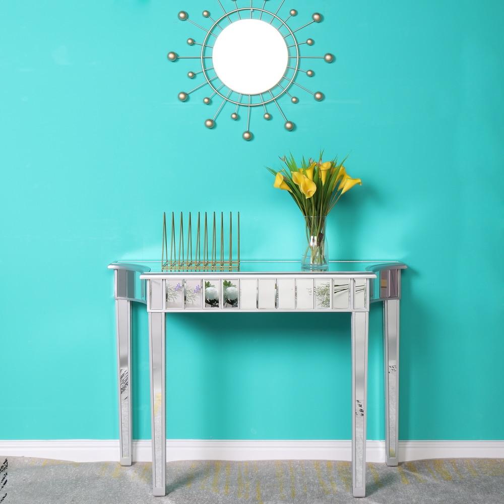 طاولة مكياج عاكسة ، طراز حديث ، مكتب غير منتظم ، فضي ، 106 × 38 × 74 سنتيمتر ، لغرفة المعيشة وغرفة النوم
