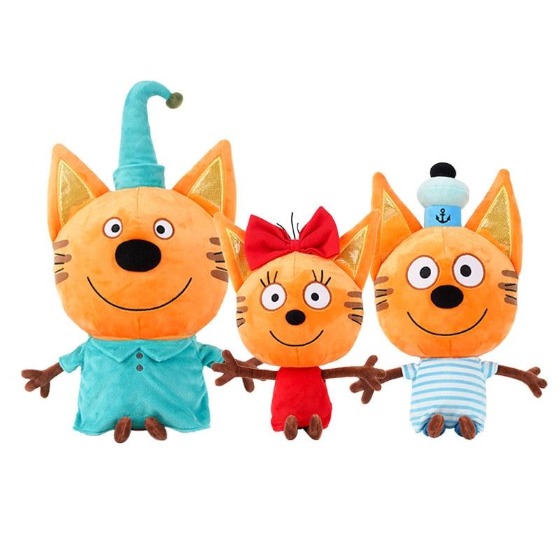 Genuine criança e Три кота Três Gatinhos gatos 27-33 centímetros Russa Boneca de Pelúcia Feliz Figura de Ação Gato Recheado Crianças Brinquedo de Presente de Natal