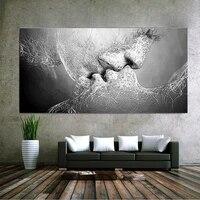 Nouvelle mode noir et blanc amour baiser Art abstrait sur toile peinture mur Art photo impression decor a la maison  sans cadre  60cm   100cm