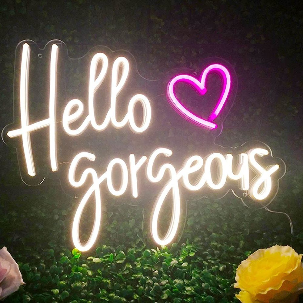 Custom Neon Light Sign Hello Gorgeous For Room Wall For Kids Bedroom Kawaii Room Decor Home Decor Gift Personalized Signs