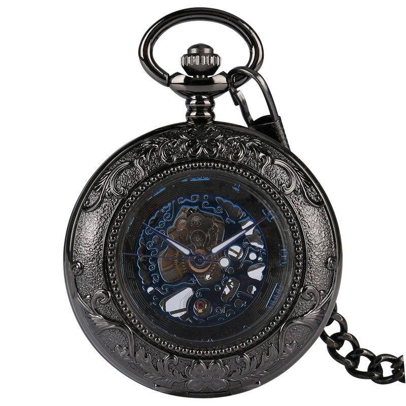 Antique Black Skeleton Unisex Mechanical Hand Wind Poket Watch Transparent Glass Steampunk Roman Number Clock Fob Pendant Chain
