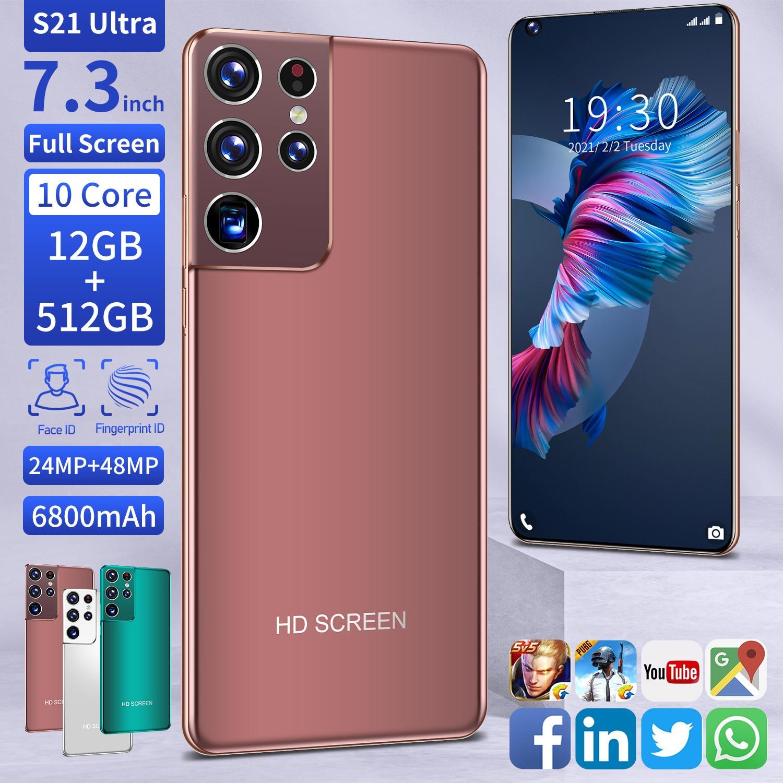 الإصدار العالمي S21 الترا 12 + 512GB الهاتف الذكي 10 كور 6800mAh 7.3 بوصة HD حامل شاشة كاملة الوجه معرف 4G 5G شاحن هاتف محمول يعمل بنظام تشغيل أندرويد