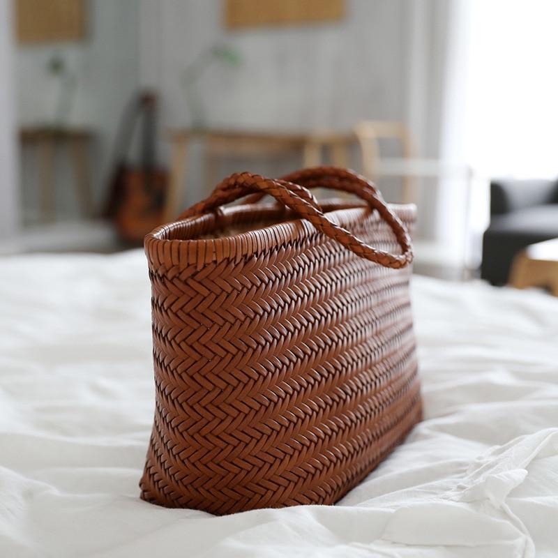 Bolso de mano de canasta francesa de diseño pequeño 2019, canasta tejida a mano de cuero lykj-yx
