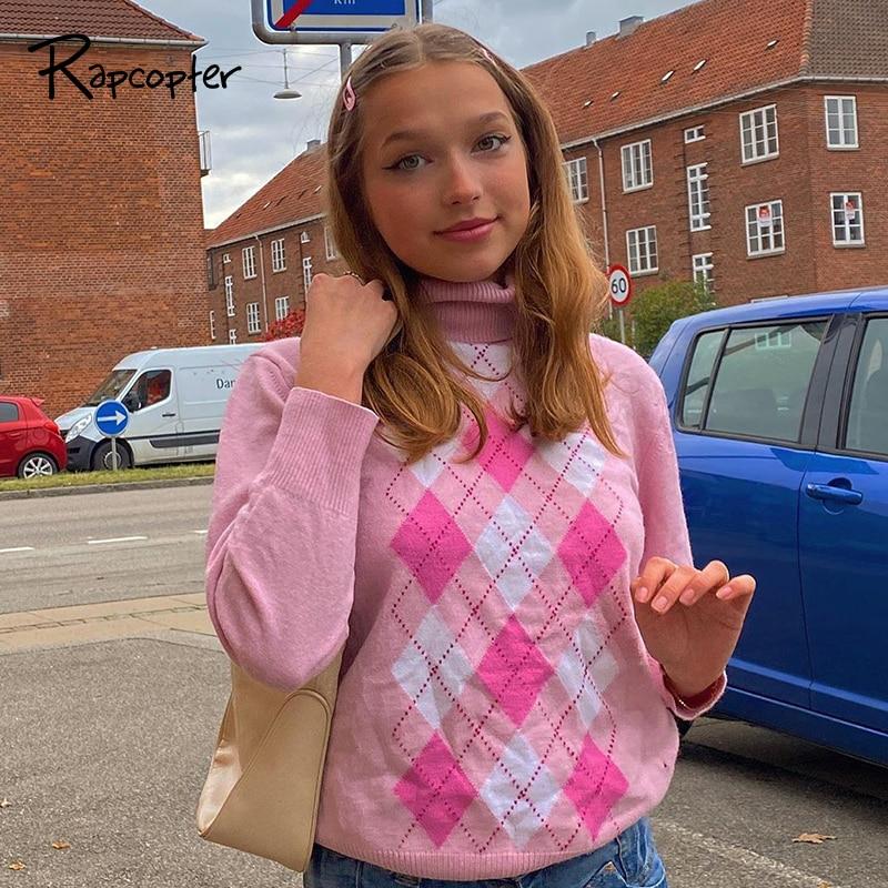 Rapcopter camisola de gola alta y2k pulôveres rosa e-girl doce malhas de manga longa de malha camisola feminina outono inverno suéteres