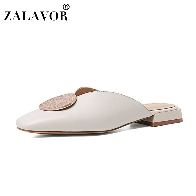 ZALAVOR, nueva moda, zapatos de verano para mujer, cuero genuino, decoración de Metal, Sandalias de tacón plano, zapatos de vacaciones para mujer, talla 33-40