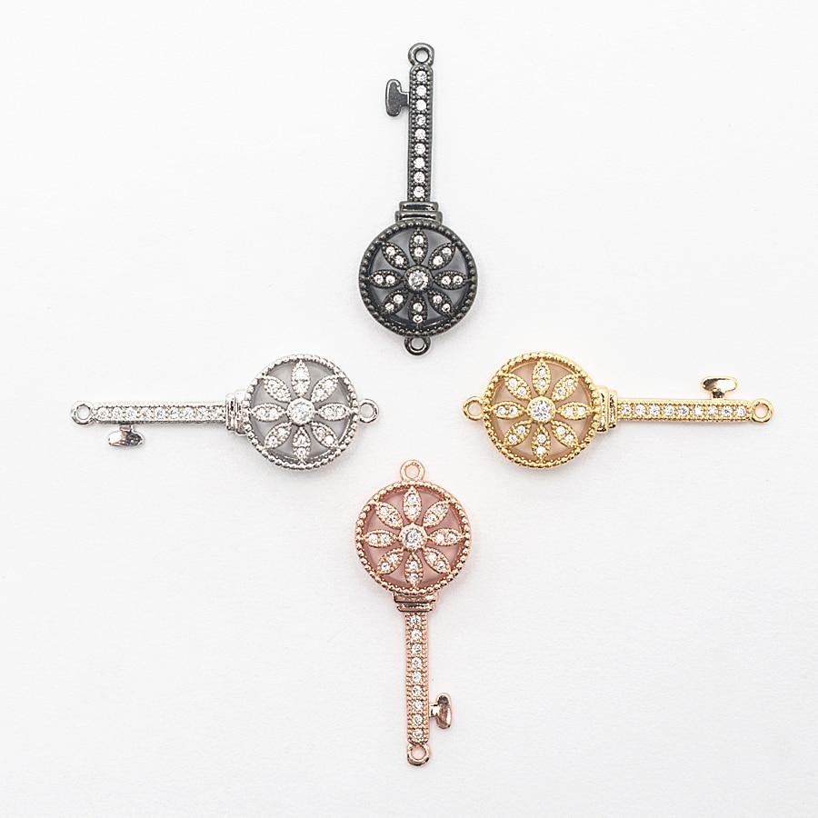 1.31 * 0.53in clé or bijoux à bricoler soi-même Bracelet collier accessoires bijoux fabrication Bracelet collier connecteur cuivre soleil fleur trou