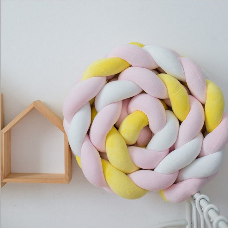 2M/3M /4M/5M Baby Bed Bumper Braid Knot Long Handmade Knotted Weaving Plush Baby Crib Protector Infant Knot Pillow Room Decor enlarge