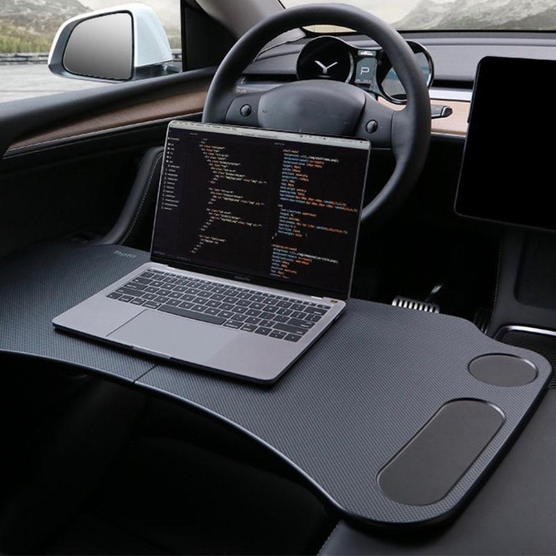 For Tesla Model 3 Y Car Folding Laptop Table Portable Vehicle Desk Car Modification Accessories enlarge