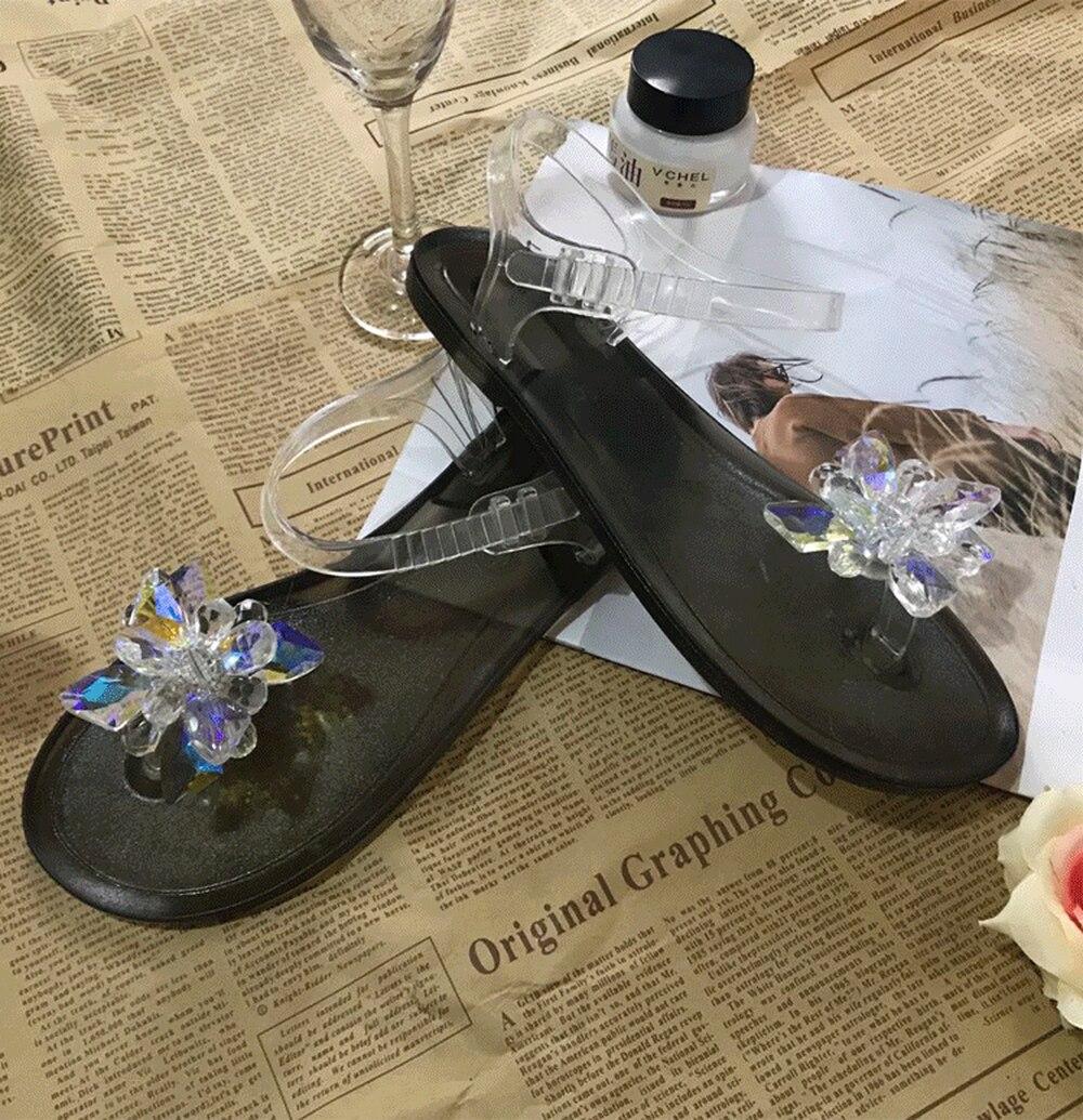Sandálias femininas de cristal, sapatos de gelatina casuais para mulheres, férias, primavera e verão, nova praia, 2020
