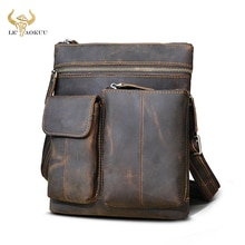 Quality Crazy Horse Leather Male Travel messenger bag Satchel Travel 9