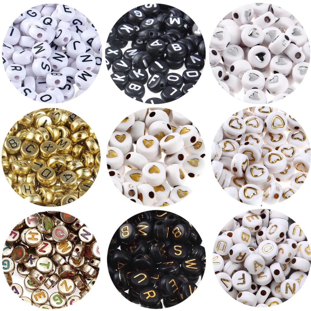 rainah davis super kingdom admin 7 components for success 100pcs 4x7mm Black White Gold Letter Beads for Jewelry Making Components Acrylic Alphabet Round Beads Bracelet Components DIY