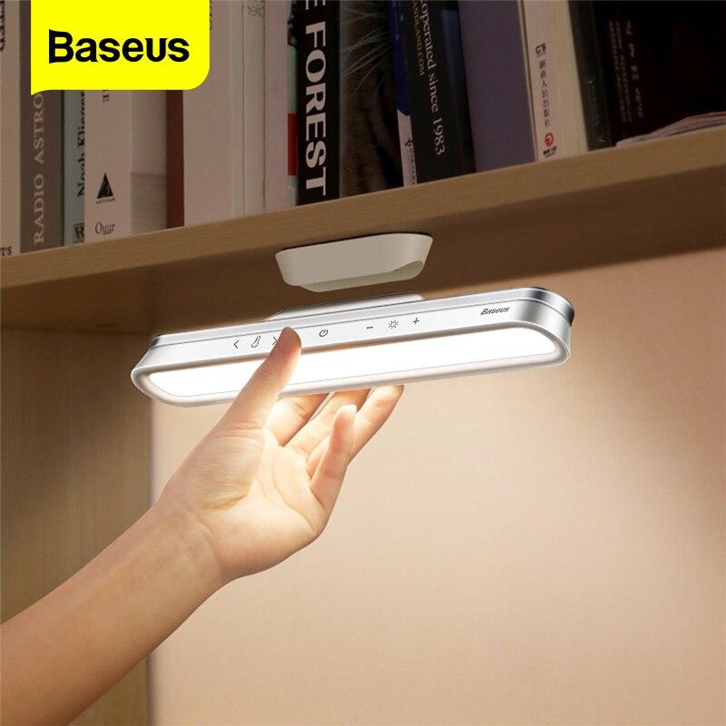 Baseus LED لمبة مكتب المغناطيسي الجدول مصباح للدراسة إضاءة الخزانة USB قابلة للشحن ستبليس يعتم عنبر أضواء ليلية