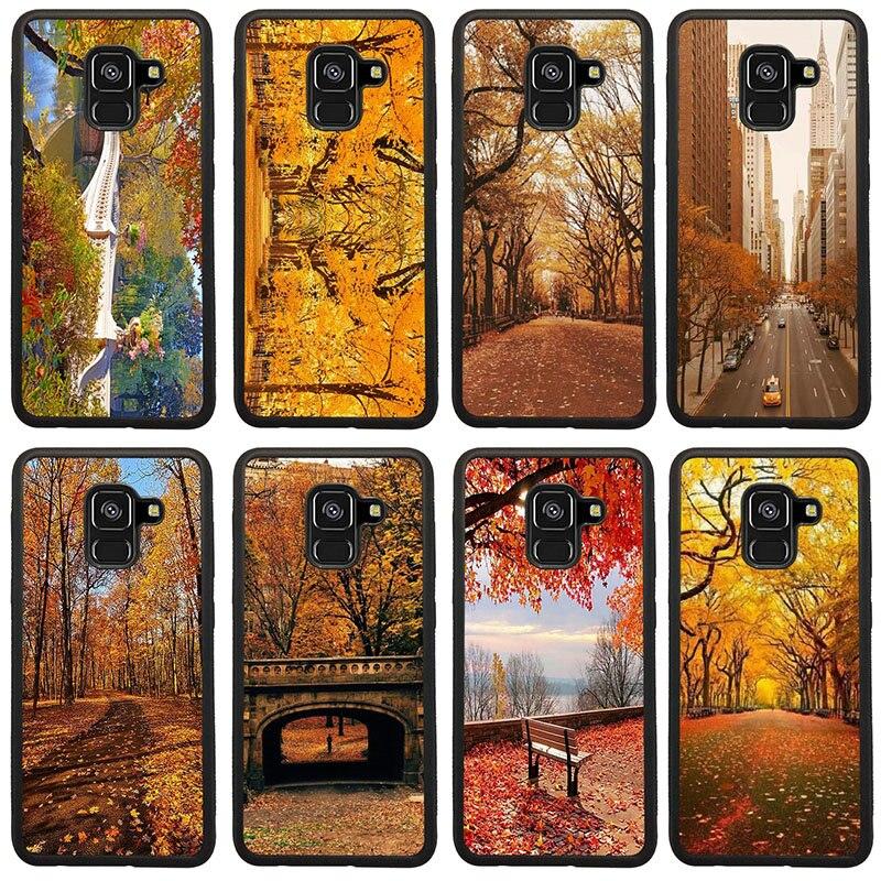 New York Herbst Laub Painted Harte PC TPU Abdeckung Fällen für Samsung Galaxy A5 A7 A8 J3 J4 J6 J7 j8 2017 2018 S7 S8 S9 S10 Pluss
