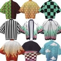w 3d womenmen summer casual cool streetwear demon slayer 3d printing japanese anime kimono haori yukata cosplay