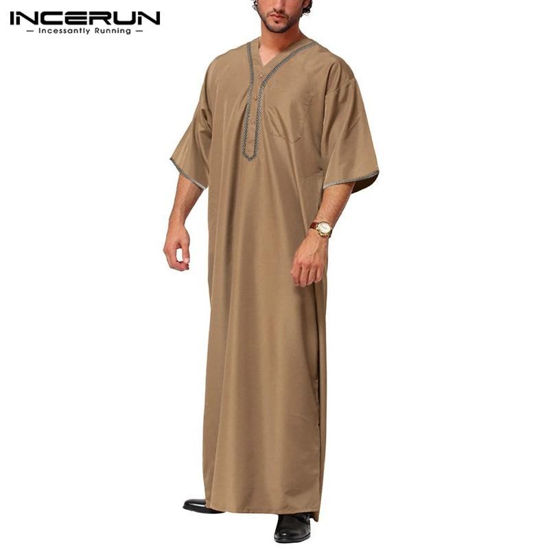 INCERUN Men Islamic Muslim Kaftan Half Sleeve Solid Color V Neck Vintage Robes Casual Dubai Saudi Arabia Men Jubba Thobe S-5XL