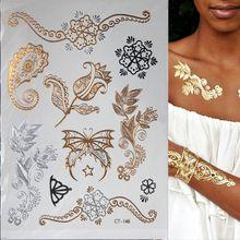 1PC or tatouage mode en temporaire tatouage paillettes tatouage imperméable autocollant femmes faux tatouage