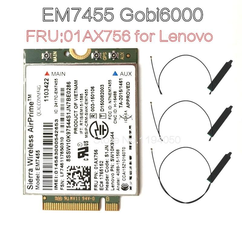 Sierra Wireless airprime Gobi6000 EM7455 WWAN card NGFF FRU module 01AX756 for Thinkpad X1 L470 X270 T570 device, Qualcomm 4 doc