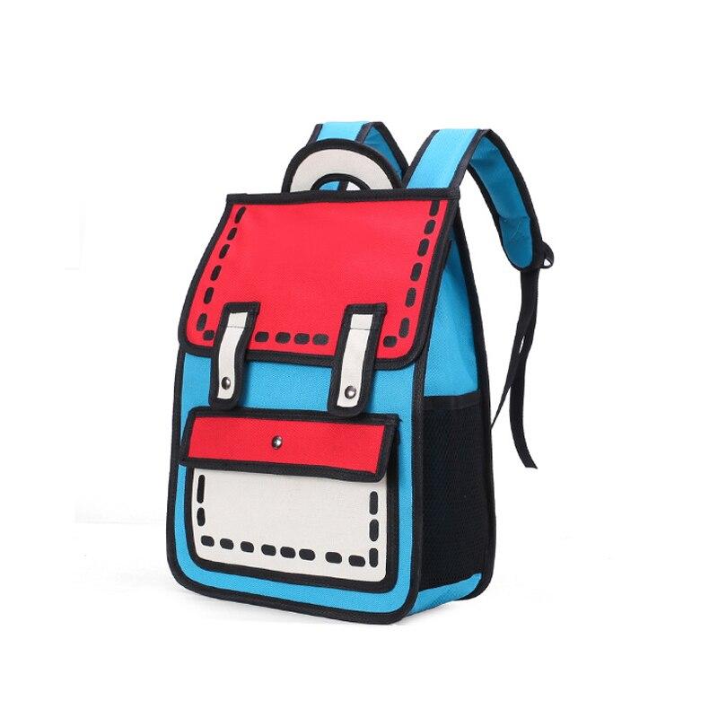 Criativo 2d viagem desenho mochilas moda feminina mochilas 3d salto estilo dos desenhos animados saco escolar tote bonito estudante unisex mochilas
