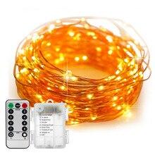 أسلاك النحاس الجنية أضواء بطارية تعمل 10 متر 100 LED سلسلة أضواء عن بعد مؤقت تحكم عن بُعد وميض سلسلة اليراع أضواء 8 طرق
